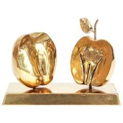 Bronze Apple Halves Sculpture