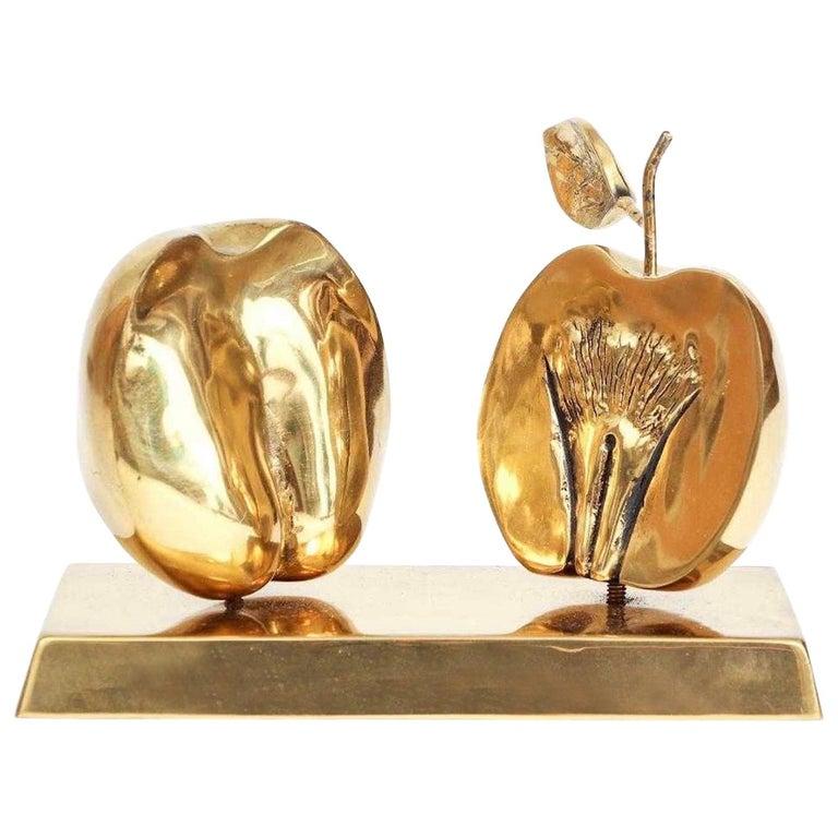 Bronze Apple Halves Sculpture For Sale