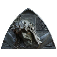 Bronze Art Deco Era Wall Sculpture of Christ with Crown of Thorns, Sylvain Norga