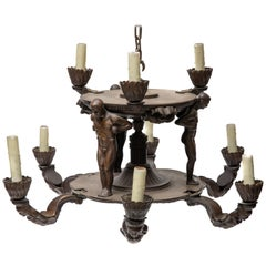 Bronze Art Deco Figural Chandelier