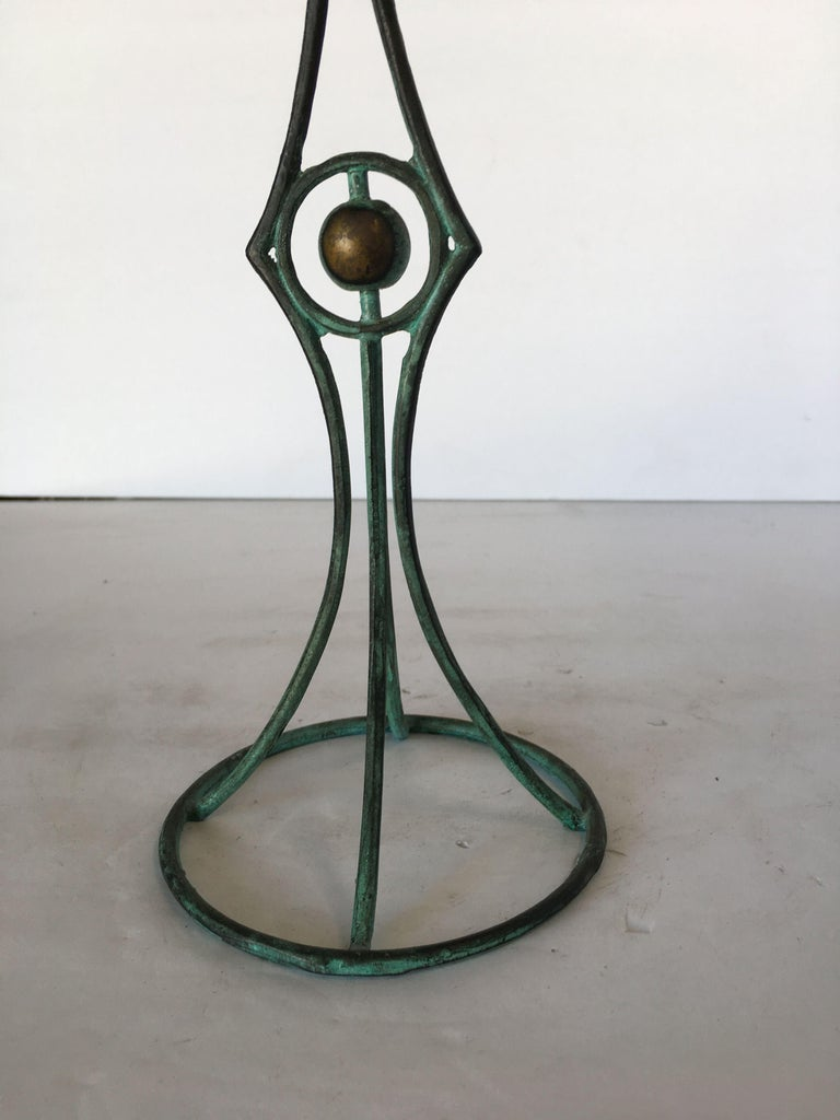 Mid-20th Century Bronze Art Deco Wireframe Candlestick Holders