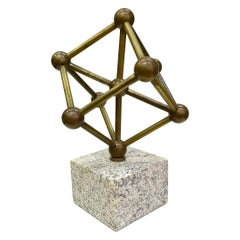 Bronze Atomium Sculpture on a Marble Base, 1970s