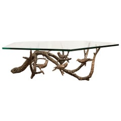 Bronze Aviary Coffee Table with Glass Top