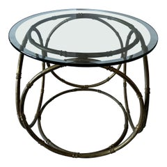 Bronze Bamboo and Glass Side Table