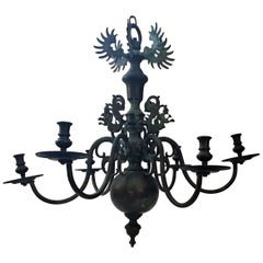 17th Century Baroque Bronze Six-Arm Chandelier Dutch-Flemish German