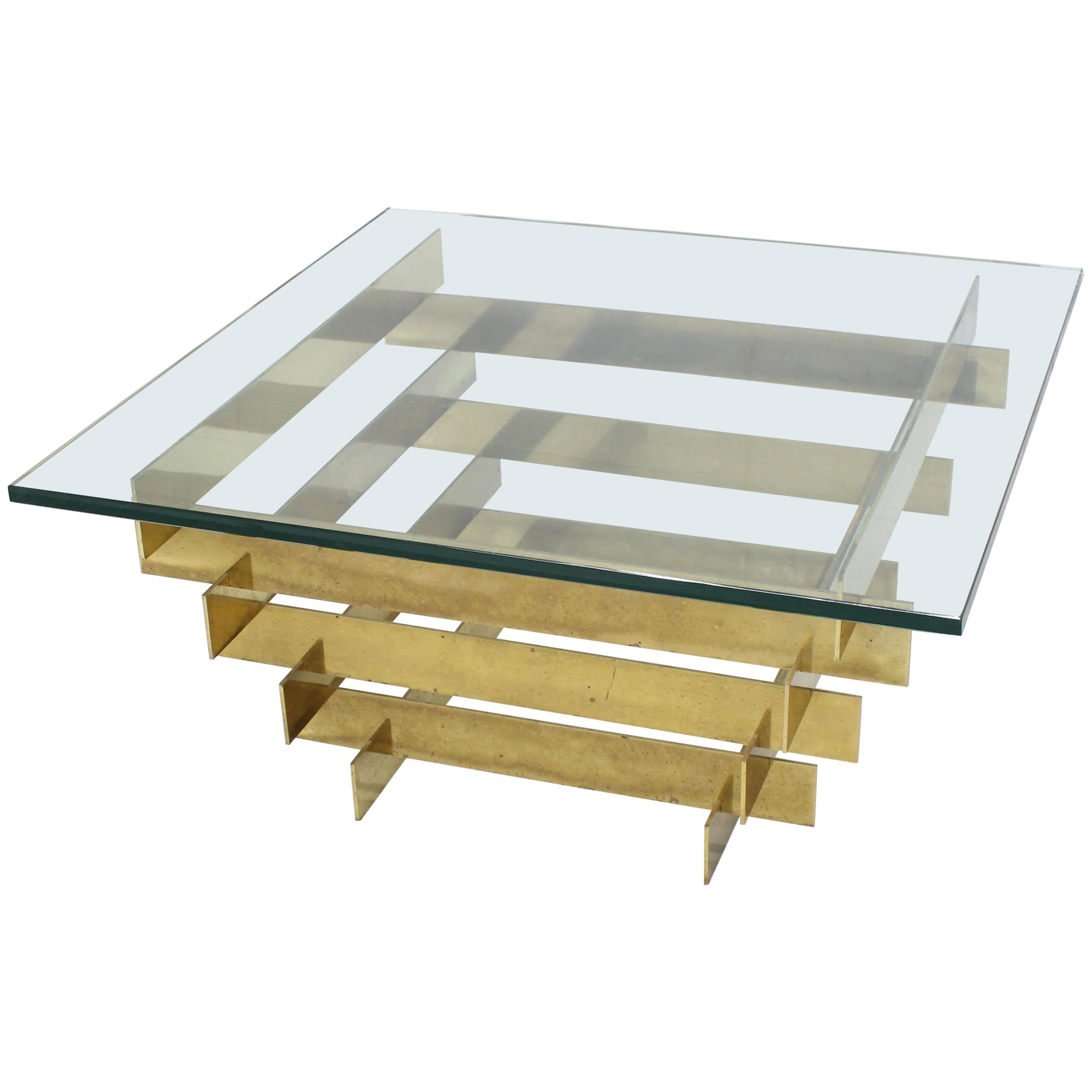 Bronze Base Glass Top Mid-Century Modern Square Coffee Table