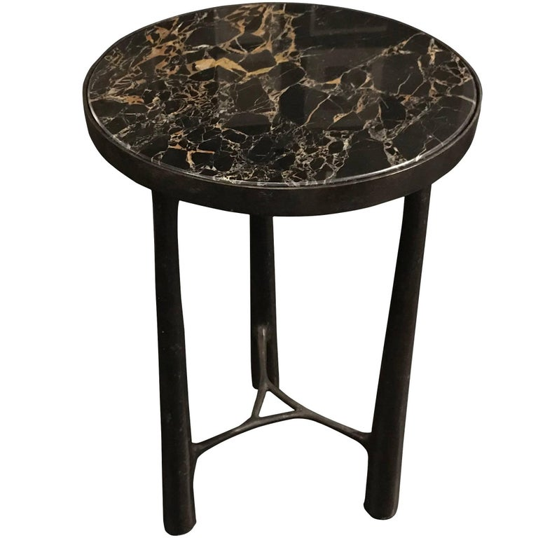Bronze Base Marble Top Side Table, Germany, Contemporary For Sale
