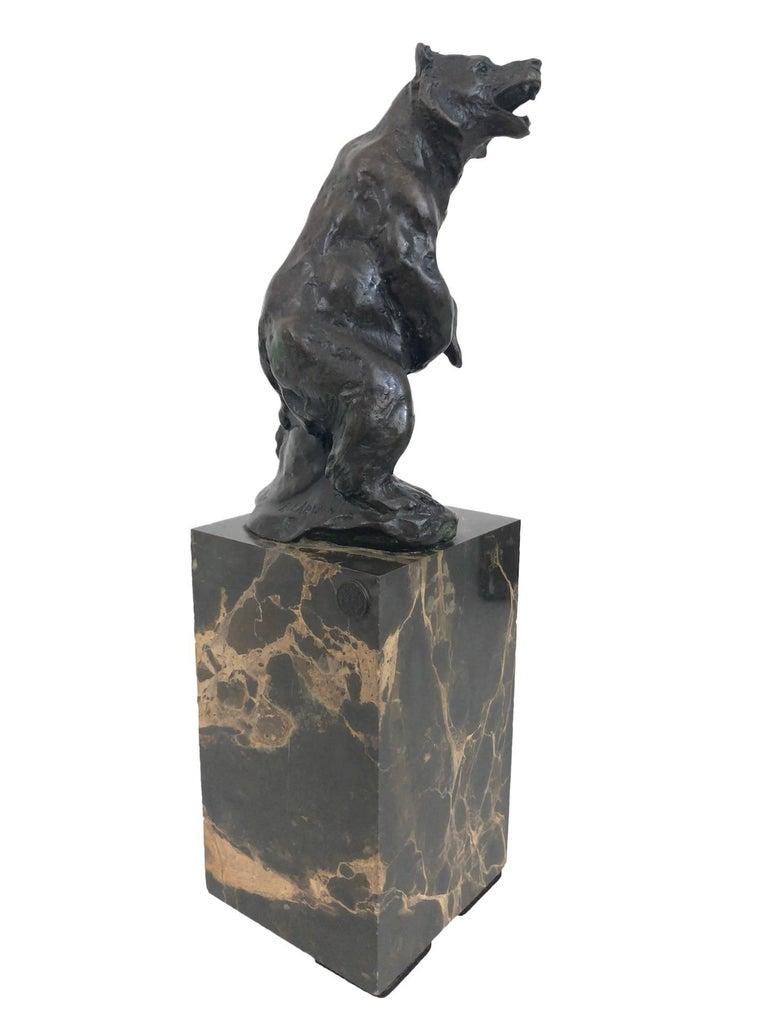 "Bronze sculpture ""Bear"" by ""Louis-Albert Carvin"" (1875-1951) Original Art Deco, France, 1930s. Signed ""Carvin""  Marble-socle.  Dimensions:  Width 7.5 cm Height 25.5 cm Depth 8 cm."