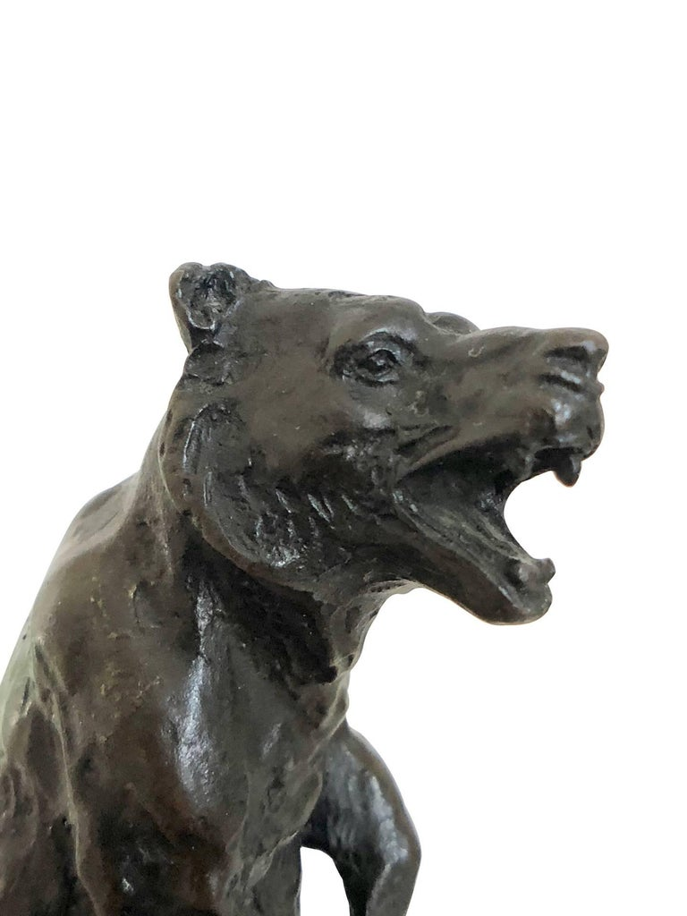 Bronze Bear Sculpture by Carvin, Art Deco, France, 1930s In Fair Condition For Sale In Baden-Baden, DE