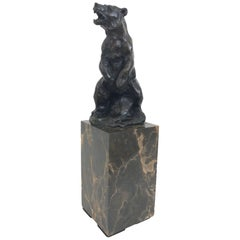 Bronze Bear Sculpture by Carvin, Art Deco, France, 1930s
