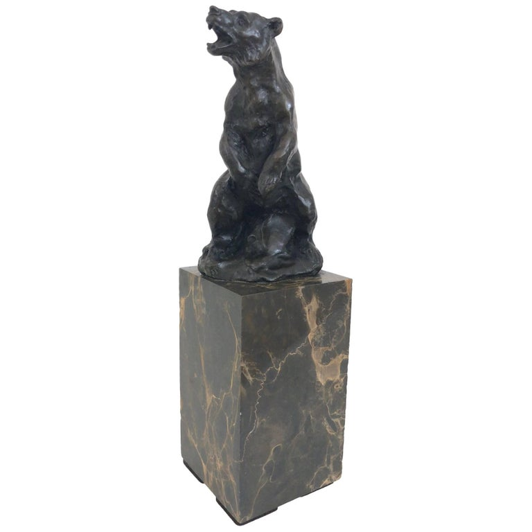 Bronze Bear Sculpture by Carvin, Art Deco, France, 1930s For Sale
