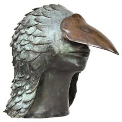 Bronze Bird Man Head Beak Art Sculpture Signed ARIESA Mexico 1960s Brutalism