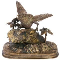 Bronze Bird Sculpture by Ferdinand Pautrot