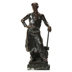 Bronze Blacksmith Sculpture by Adolph Joseph Pohl