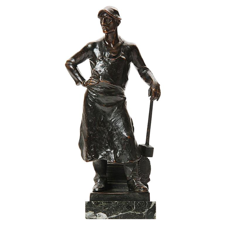 Bronze Blacksmith Sculpture by Adolph Joseph Pohl For Sale