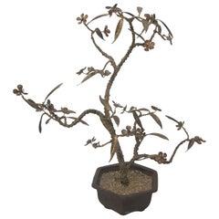 Bronze Bonsai Cherry Blossom Tree Sculpture