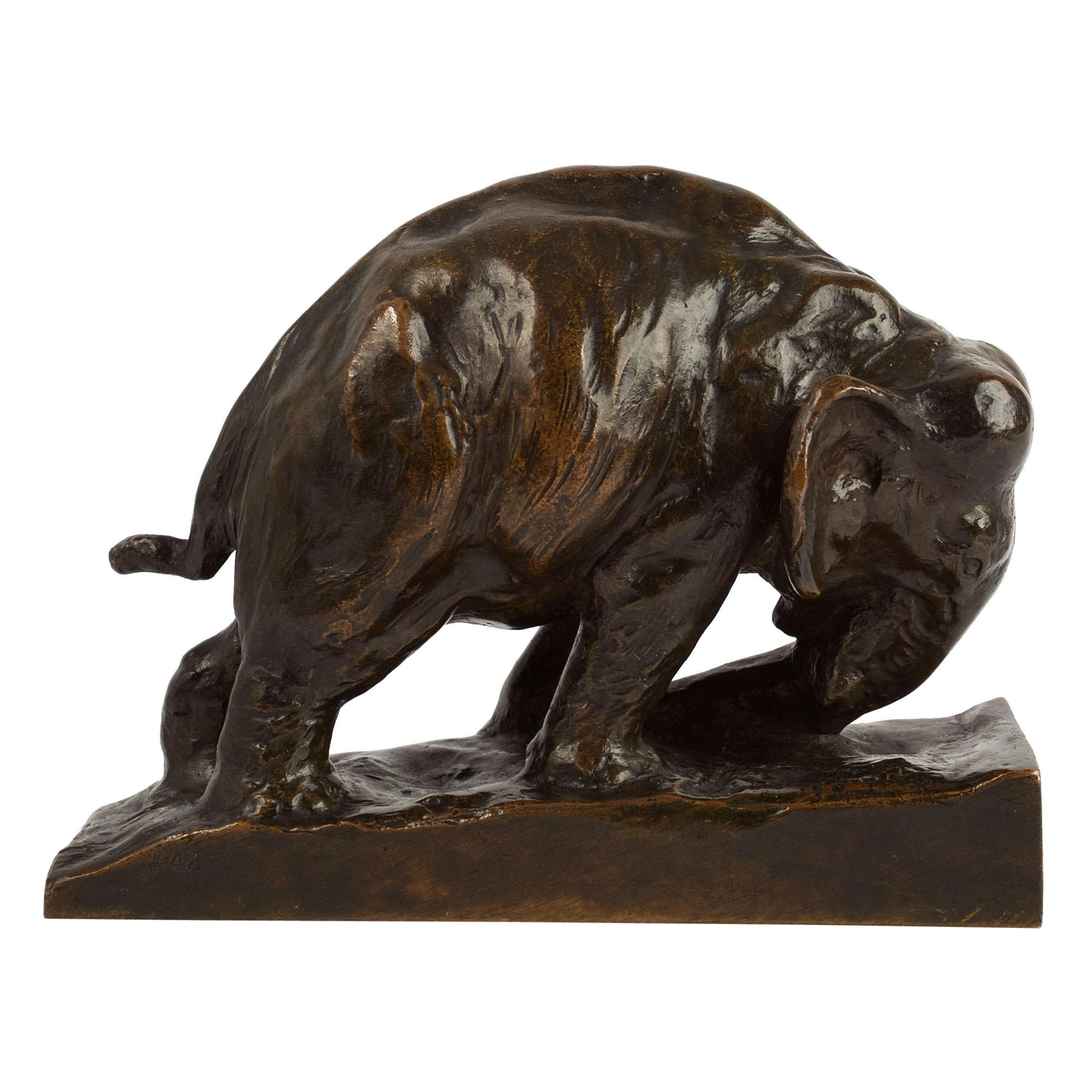 """Bronze Bookend Sculpture """"Pushing Elephant"""" by Mahonri M. Young, Cast by Gorham"""