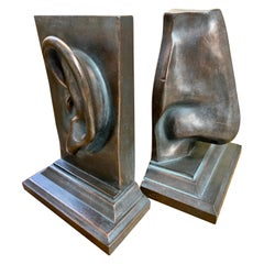 Bronze Bookends in Ear and Nose Shapes
