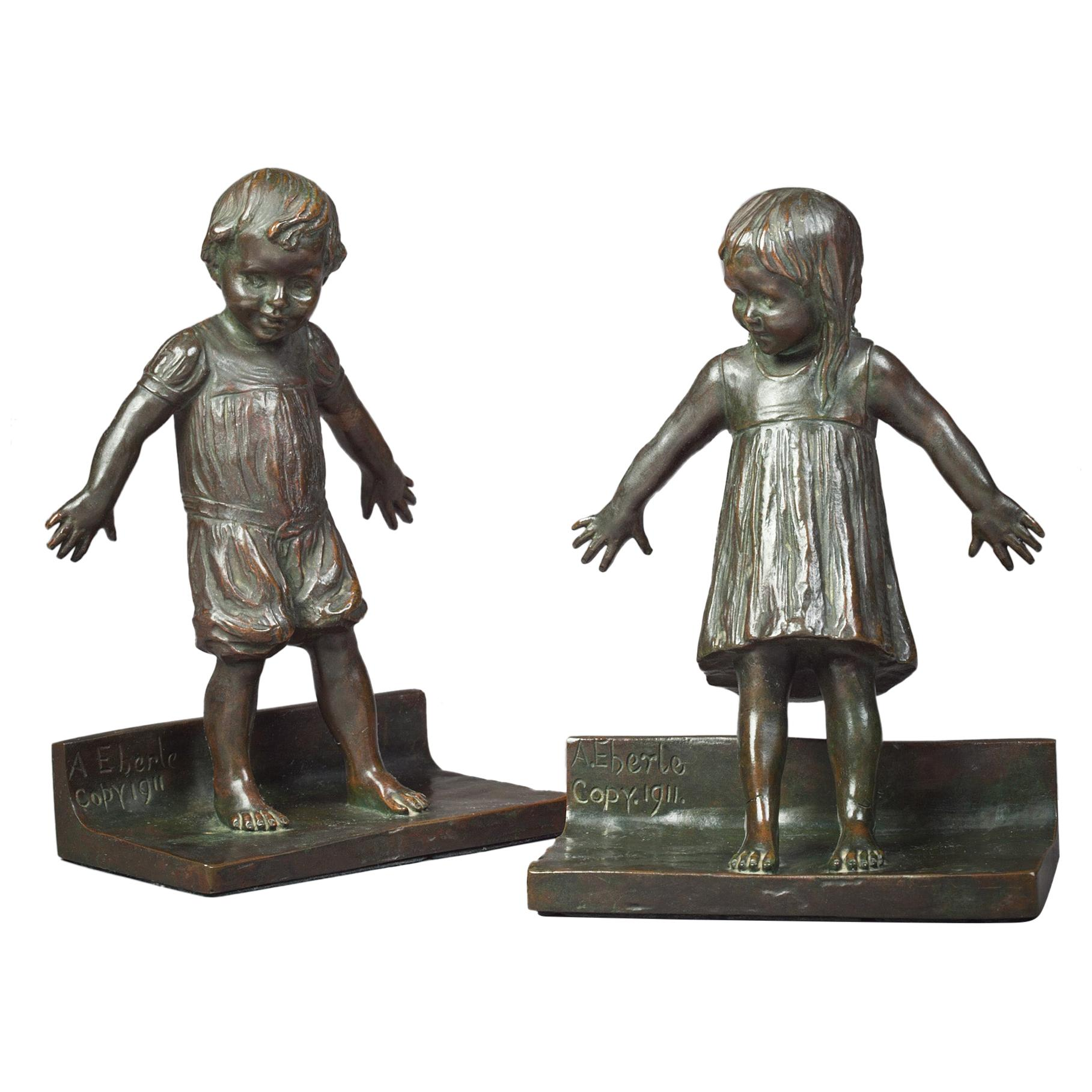 Bronze Bookends of Boy and Girl Playing Hide and Seek