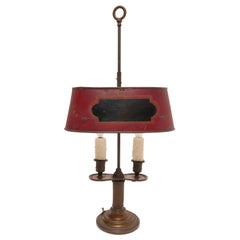 Bronze Bouillotte Lamp with Red Tole Shade, French, circa 1800