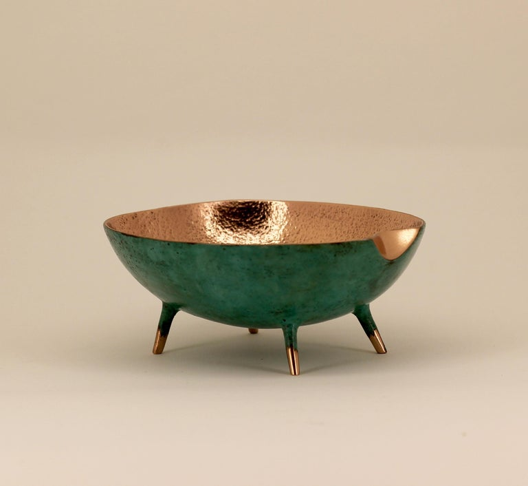 Charming and unusual handmade polished cast bronze bowl.