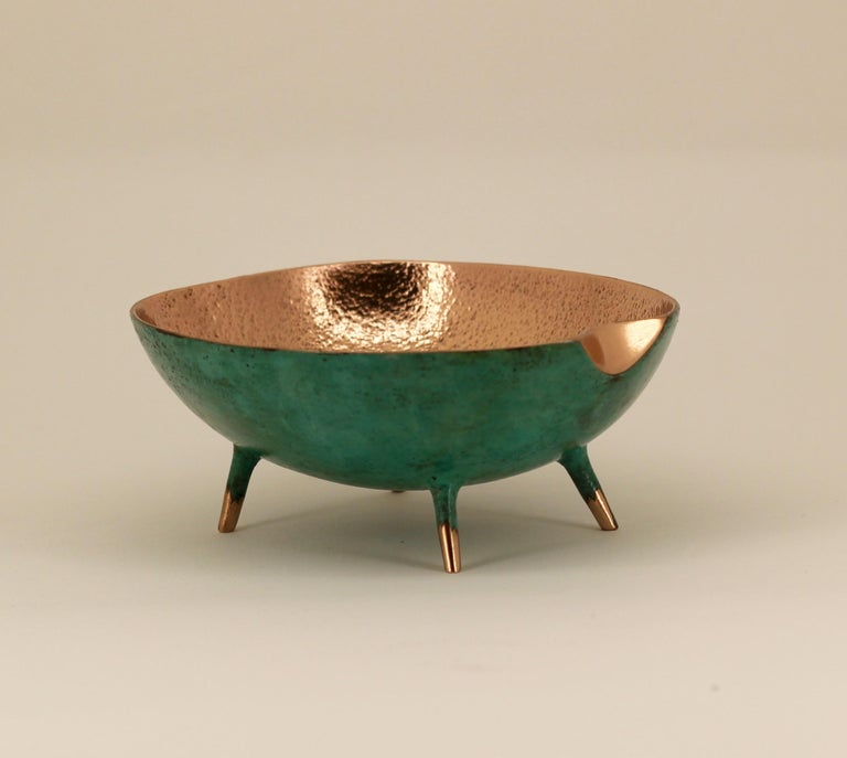 Organic Modern Bronze Bowl with Legs, Vide-Poche For Sale