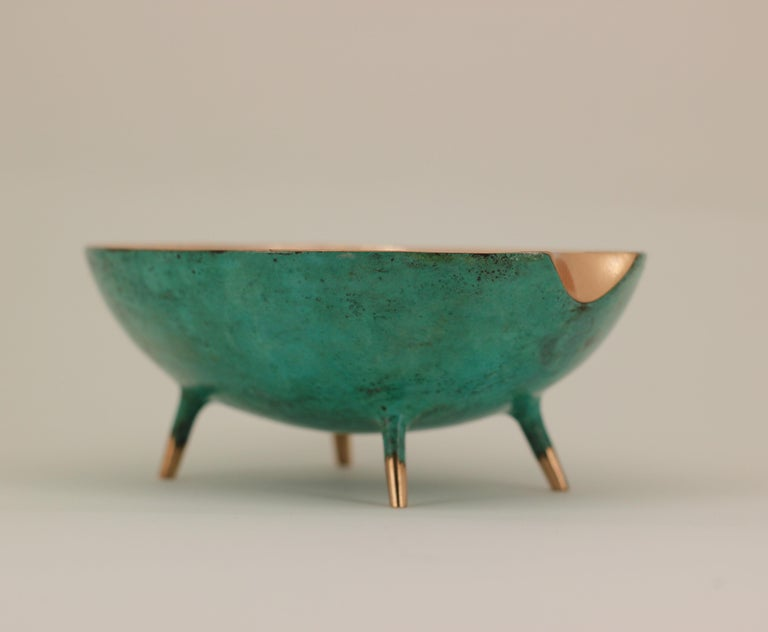 Indian Bronze Bowl with Legs, Vide-Poche For Sale