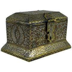 Bronze Box Inlaid with Silver and Copper, Syria, 1900s-1920s