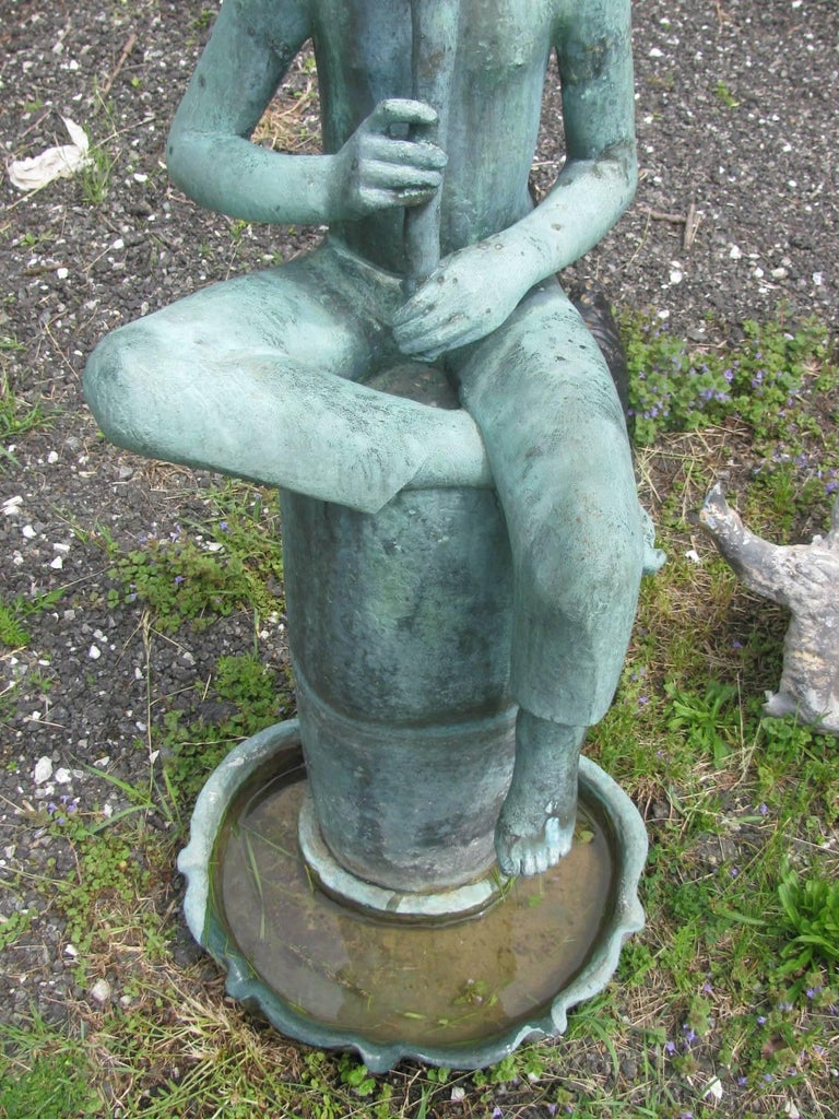 American Bronze Boy Flutist Fountain by Sylvia Shaw Judson For Sale