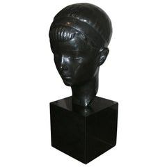 Bronze Boy's Head Sculpture on Pedestal, Mid-20th Century