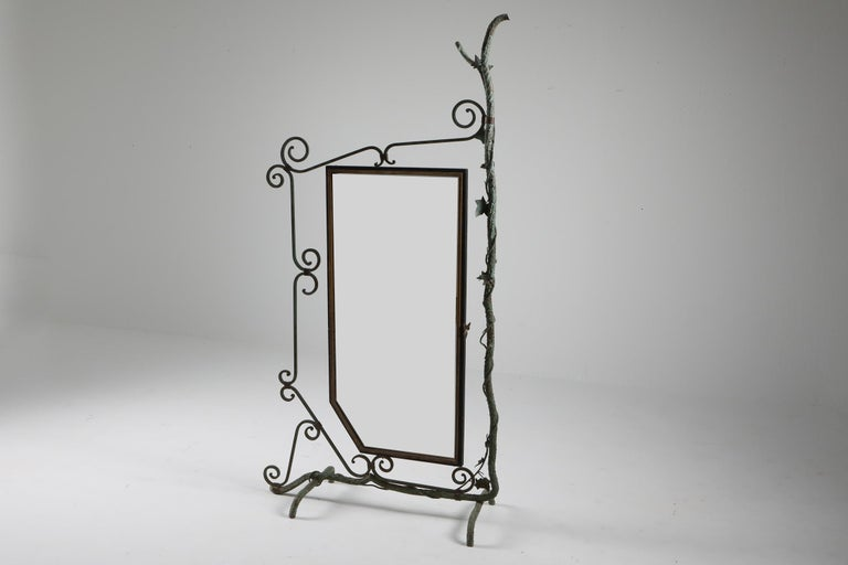 Arts and Crafts Bronze, Brass and Forged Steel Decorative Floor Mirror For Sale