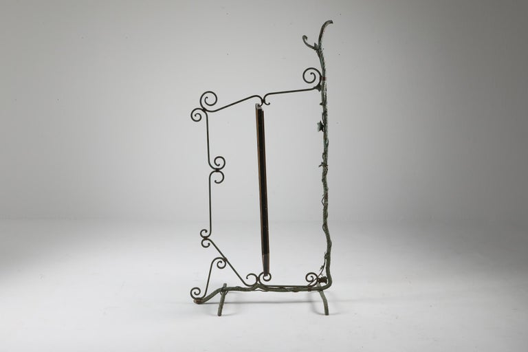 20th Century Bronze, Brass and Forged Steel Decorative Floor Mirror For Sale
