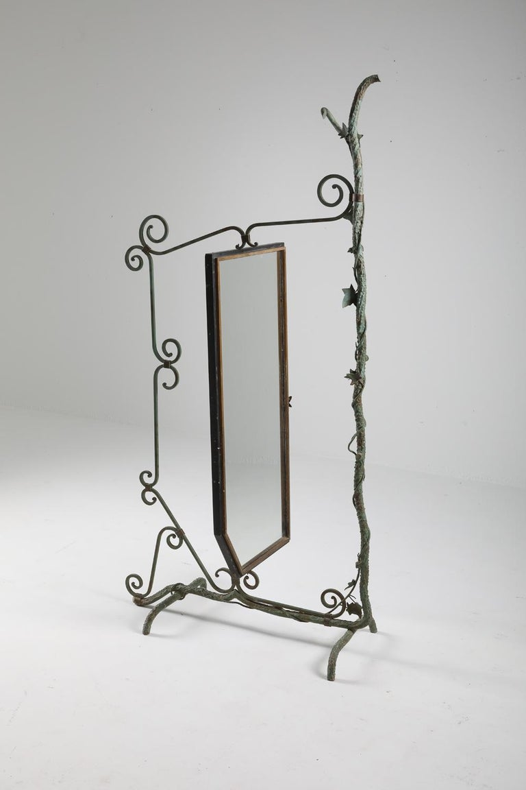 Bronze, Brass and Forged Steel Decorative Floor Mirror For Sale 2