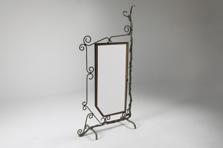 Bronze, Brass and Forged Steel Decorative Floor Mirror For Sale 3