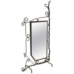 Bronze, Brass and Forged Steel Decorative Floor Mirror