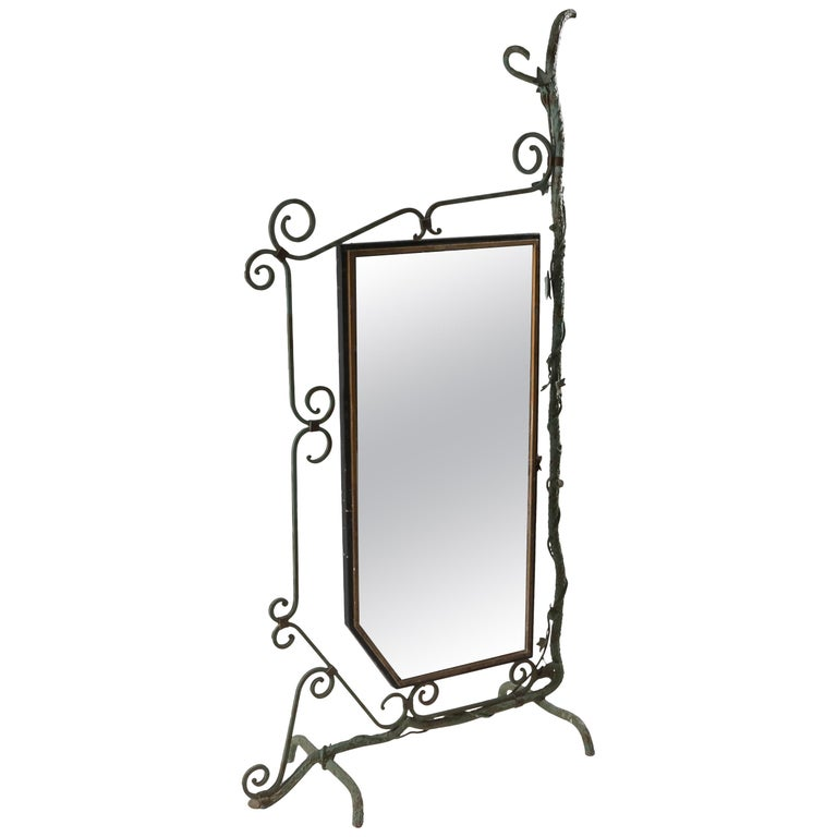 Bronze, Brass and Forged Steel Decorative Floor Mirror For Sale