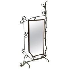 Bronze, Brass and Forged Steel Decorative Floor Mirror