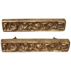 Bronze Brutalist Pair of Door Pulls Attributed Sherrill Broudy