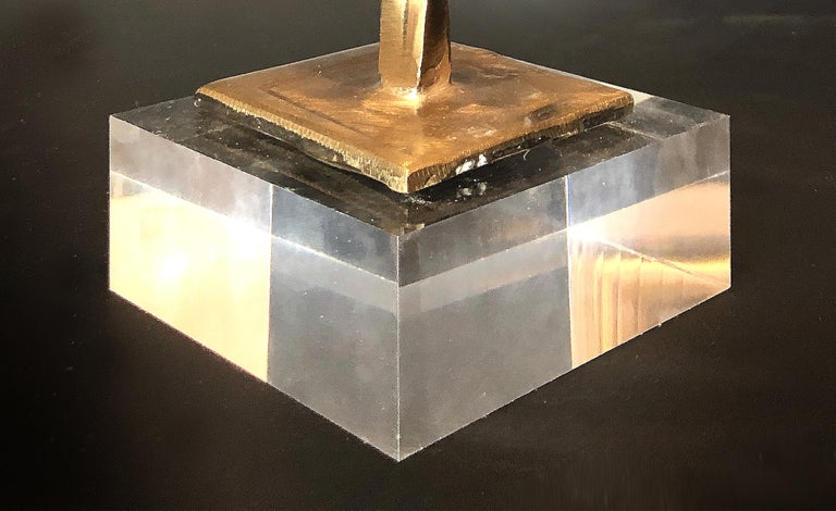 20th Century Bronze Brutalist Sculpture Mounted on Lucite, 1989 For Sale