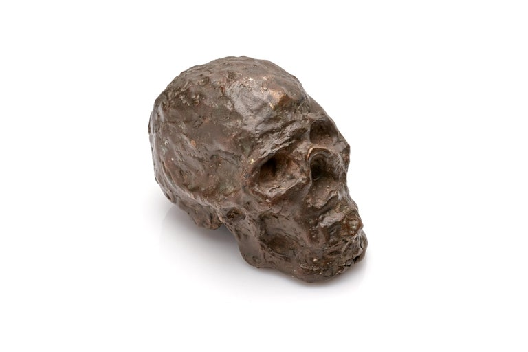 A striking brutalist bronze sculpture of a skull. Incredibly well executed with a beautiful applied verdigris. Although appearing to be unsigned, this sculpture was created by a talented and likely well trained hand.  6
