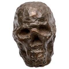 Bronze Brutalist Skull Sculpture