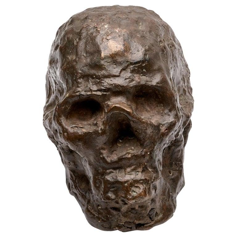 Bronze Brutalist Skull Sculpture For Sale