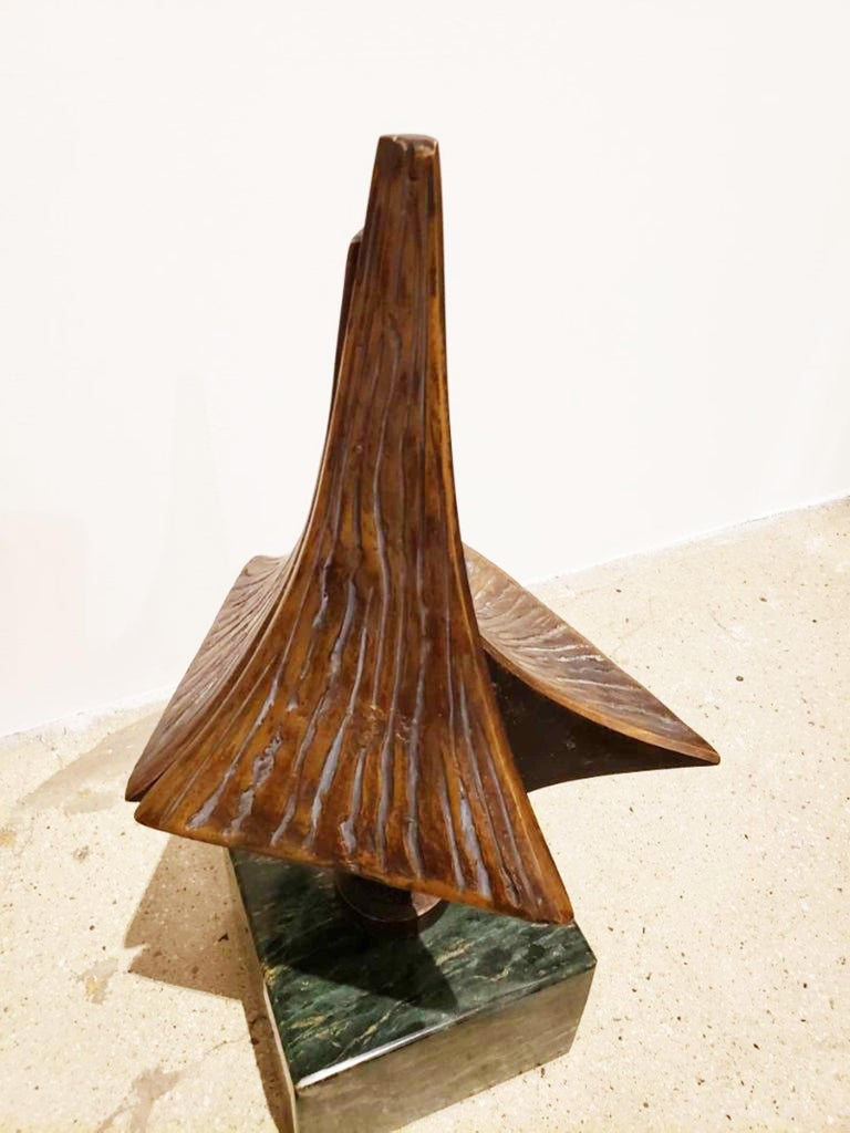 Mid-Century Modern Bronze Brutalist Style Sculpture on Marble Base, circa 20th Century For Sale