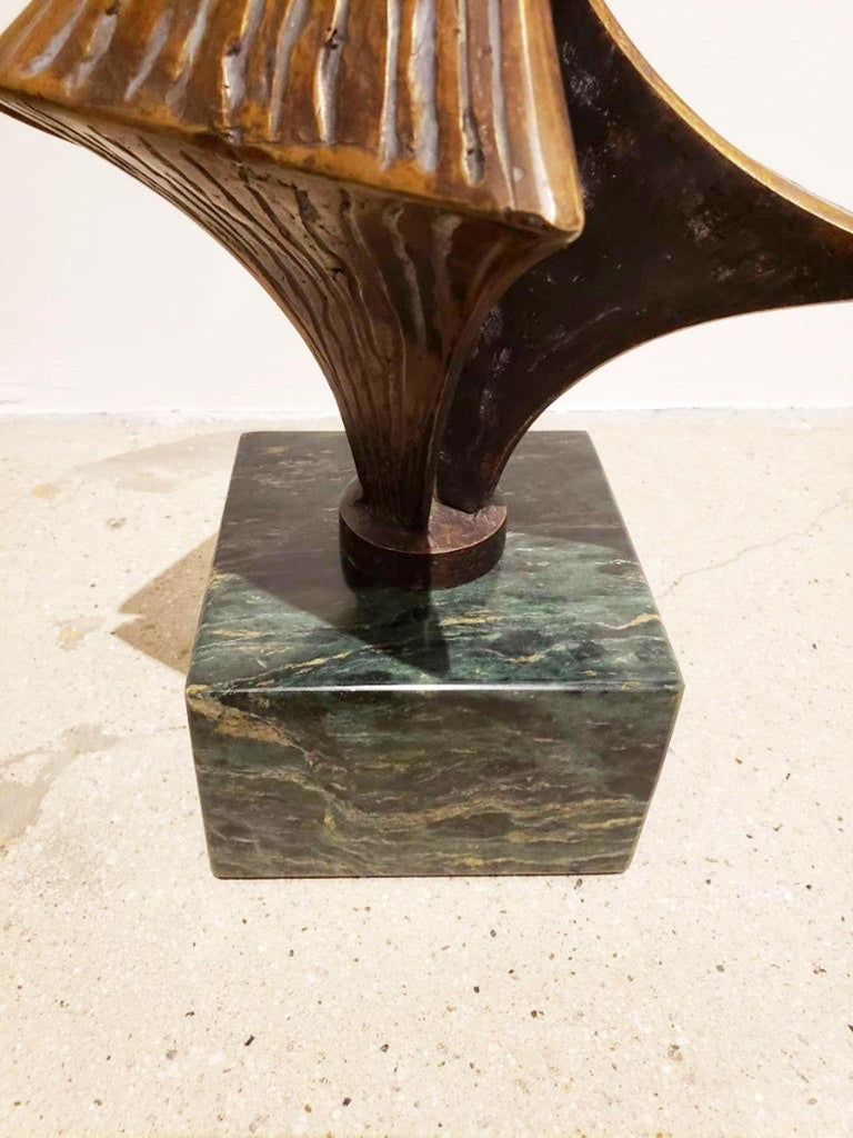 Bronze Brutalist Style Sculpture on Marble Base, circa 20th Century In Excellent Condition For Sale In Dallas, TX