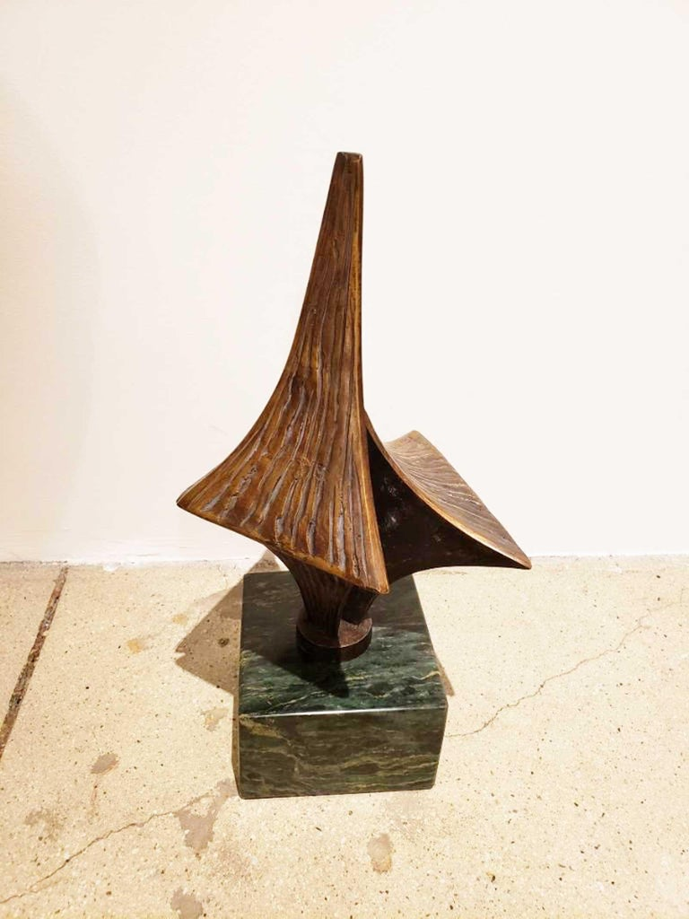 Bronze Brutalist Style Sculpture on Marble Base, circa 20th Century For Sale 1