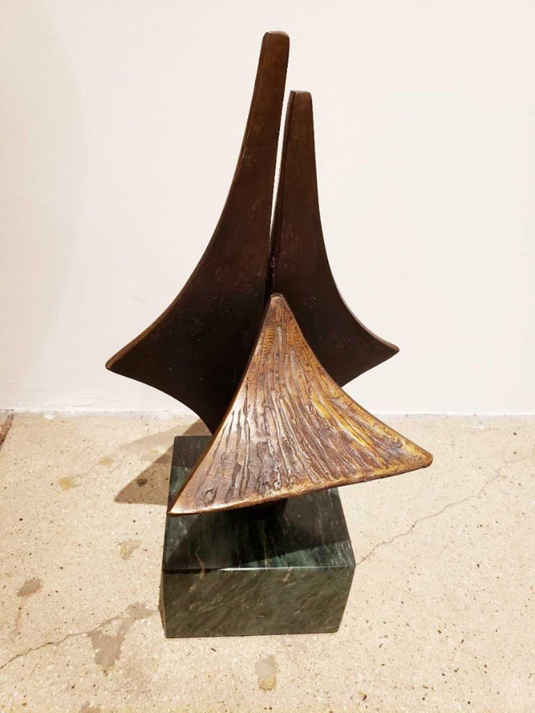 Bronze Brutalist Style Sculpture on Marble Base, circa 20th Century For Sale 3