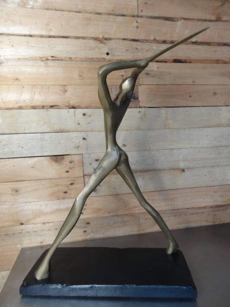 French Bronze Brutalist Figurative Table Sculpture of Man with Sword For Sale