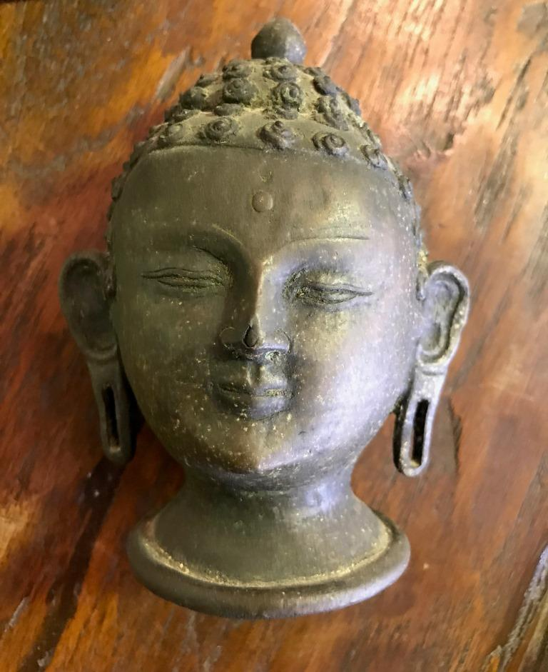 Bronze Buddha Head on Display Stand For Sale 1