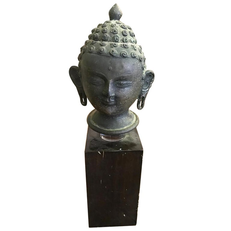 Bronze Buddha Head on Display Stand For Sale