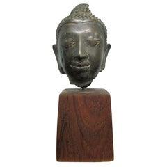 Bronze Buddha Head on Stand
